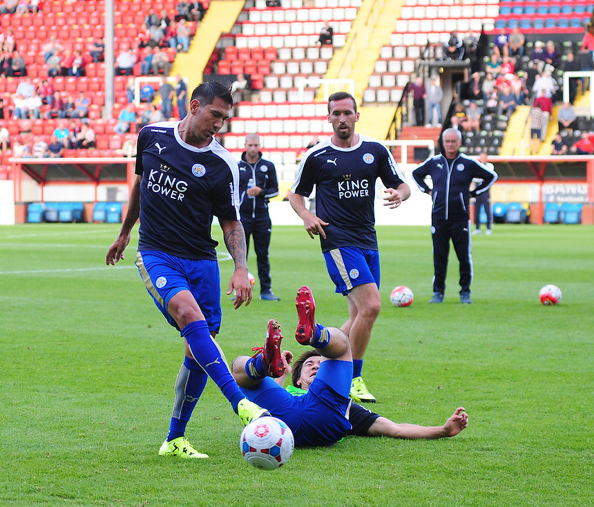 Leicester City&rsquo;s Shinji Okazaki, right, during the pre-match warm-up with team-mate Leonardo Ulloa<br /> <br /> Photographer Chris Vaughan/CameraSport<br /> <br /> Football - Football Friendly - Lincoln City v Leicester City - Tuesday 21st July 2015 - Sincil Bank - Lincoln<br /> <br /> &copy; CameraSport - 43 Linden Ave. Countesthorpe. Leicester. England. LE8 5PG - Tel: +44 (0) 116 277 4147 - admin@camerasport.com - www.camerasport.com