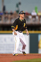 Bradenton Marauders Justin Sellers (38), on a rehab assignment from the Pittsburgh Pirates, leads off second during a game against the Charlotte Stone Crabs on April 20, 2015 at McKechnie Field in Bradenton, Florida.  Charlotte defeated Bradenton 6-2.  (Mike Janes/Four Seam Images)