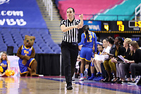 GREENSBORO, NC - MARCH 04: Official Tiara Cruse signals a foul during a game between Pitt and Notre Dame at Greensboro Coliseum on March 04, 2020 in Greensboro, North Carolina.