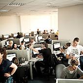 """WARSAW, POLAND, MAY 2011:.Consultants at the """"Call Center Poland"""" call center in Warsaw..(Photo by Piotr Malecki / Napo Images)..WARSZAWA, MAJ 2011:.Telemarketerzy i w firmie """"Call Center Poland""""..Fot: Piotr Malecki / Napo Images.***Zdjecie moze byc wykorzystane w prasie, jesli sposob jego uzycia i podpis nie obrazaja osob znajdujacych sie na nim***"""