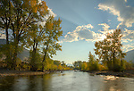 Idaho, East Central, The Big Lost River surrounded by autumn color.