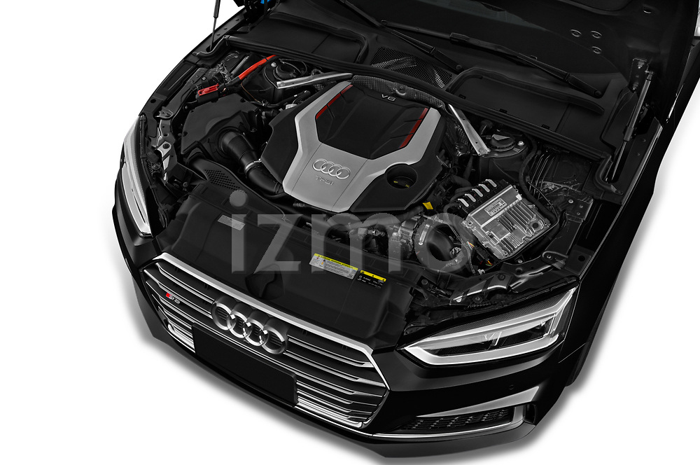 Car Stock 2018 Audi S5 Premium-Plus 2 Door Coupe Engine  high angle detail view