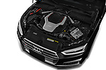 Car Stock 2019 Audi S5 Premium-Plus 2 Door Coupe Engine  high angle detail view