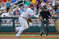 Mississippi State first baseman Wes Rea (35) tosses the ball to the pitcher during Game 1 of the 2013 Men's College World Series Finals against the UCLA Bruins on June 24, 2013 at TD Ameritrade Park in Omaha, Nebraska. The Bruins defeated the Bulldogs 3-1, taking a 1-0 lead in the best of 3 series. (Andrew Woolley/Four Seam Images)