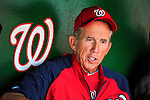 9 July 2011: Washington Nationals Manager Davey Johnson is interviewed in the dugout prior to a game against the Colorado Rockies at Nationals Park in Washington, District of Columbia. Johnson replaced Jim Riggleman as Manager on June 23. The Nationals were edged out 2-1 by the Rockies, dropping the second game of their 3-game series. Mandatory Credit: Ed Wolfstein Photo