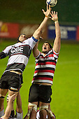 Jamie Metcalfe competes for lineout ball. Counties Manukau Steelers pre season ITM Cup game against North Harbour played at Bayer Growers Stadium Pukekohe on Wednesday July 21st 2010..North Harbour won 22 - 21.