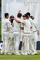 The Black Caps celebrates the wicket of Ben Stokes of England during Day 4 of the Second International Cricket Test match, New Zealand V England, Hagley Oval, Christchurch, New Zealand, 2nd April 2018.Copyright photo: John Davidson / www.photosport.nz