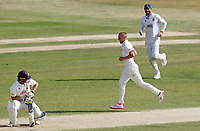 Jamie Porter (centre) of Essex celebrates taking the wicket of Laurie Evans during Essex CCC vs Surrey CCC, Bob Willis Trophy Cricket at The Cloudfm County Ground on 9th August 2020