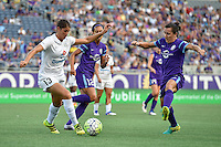 Orlando, FL - Saturday Sept. 24, 2016: Brittany Taylor, Kristen Edmonds, Lisa De Vanna during a regular season National Women's Soccer League (NWSL) match between the Orlando Pride and FC Kansas City at Camping World Stadium.