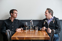 "Kimbal Musk (cq, left) and Chef Hugo Matheson (cq) at The Kitchen in Boulder, Colorado, Friday, March 13, 2015. Musk is CEO of The Kitchen restaurant group, with its flagship in Boulder. It is a ""farm-to-table"" restaurant serving good food at decent prices. Musk also heads Learning Gardens, a non-profit that puts classroom-size gardens in schools so kids can center a curriculum around growing food.  <br /> <br /> Photo by Matt Nager"