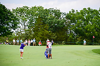 Stacy Lewis (USA) hits her approach shot on 1 during Saturday's third round of the 72nd U.S. Women's Open Championship, at Trump National Golf Club, Bedminster, New Jersey. 7/15/2017.<br /> Picture: Golffile | Ken Murray<br /> <br /> <br /> All photo usage must carry mandatory copyright credit (&copy; Golffile | Ken Murray)