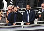 5th November 2017, Wembley Stadium, London England; EPL Premier League football, Tottenham Hotspur versus Crystal Palace; Crystal Palace Chairman Steve Parish alongside former Crystal Palace player Mark Bright from the directors box looking on before kick off