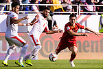 Nguyen Huy Hung of Vietnam (R) fights for the ball with Baha' Abdelrahman of Jordan (C) and Yousef Rawshdeh of Jordan (L) during the AFC Asian Cup UAE 2019 Round of 16 match between Jordan (JOR) and Vietnam (VIE) at Al Maktoum Stadium on 20 January 2019 in Dubai, United Arab Emirates. Photo by Marcio Rodrigo Machado / Power Sport Images