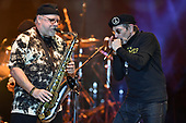 """MIAMI, FL - FEBRUARY 09: Scott Martin and Stanley """"The Baron"""" Behrens of WAR perform at The Magic City Casino on February 9, 2019 in Miami, Florida. Credit Larry Marano © 2019"""