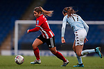 Alethea Paul of Sheffield United runs away from Sophie Haywood of Aston Villa during the The FA Women's Championship match at the Proact Stadium, Chesterfield. Picture date: 12th January 2020. Picture credit should read: James Wilson/Sportimage