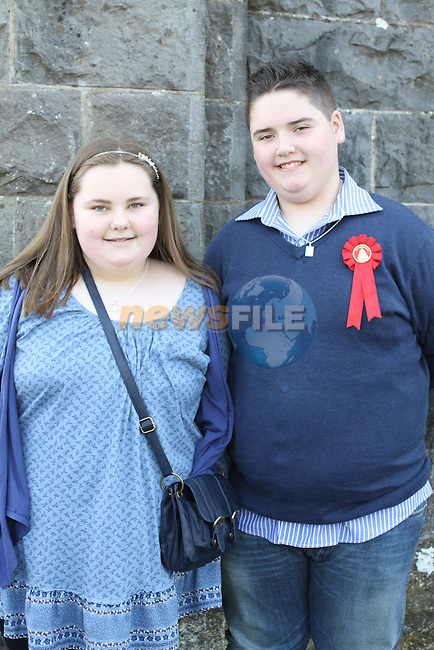 Laura Reynolds and Michael Devine at Tullyallen NS. Confirmation...(Photo credit should read Jenny Matthews www.newsfile.ie)....This Picture has been sent you under the conditions enclosed by:.Newsfile Ltd..The Studio,.Millmount Abbey,.Drogheda,.Co Meath..Ireland..Tel: +353(0)41-9871240.Fax: +353(0)41-9871260.GSM: +353(0)86-2500958.email: pictures@newsfile.ie.www.newsfile.ie.