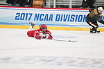ADRIAN, MI - MARCH 18: Melissa Sheeran (26) of Plattsburgh State University chases a loose puck during the Division III Women's Ice Hockey Championship held at Arrington Ice Arena on March 19, 2017 in Adrian, Michigan. Plattsburgh State defeated Adrian 4-3 in overtime to repeat as national champions for the fourth consecutive year. by Tony Ding/NCAA Photos via Getty Images)