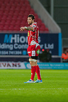 Saturday 10 May 2014<br /> Pictured: Josh Turnbull of the Scarlets <br /> Re: Scarlets v Blues Rabo Direct Pro 12 Rugby Union Match at Parc y Scarlets, Llanelli, Wales