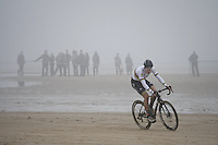 Wout van Aert (BEL/VerandasWillems-Crelan) leading the way (from start to finish) along the belgian coast<br />