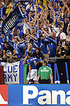 Aug 22 2007:  Sasha Victorine (9) of the Wizards gives some love to the supporters in the Cauldron after scoring his goal.  The MLS Kansas City Wizards defeated the visiting Chicago Fire 3-2 at Arrowhead Stadium in Kansas City, Missouri, in a regular season league soccer match.