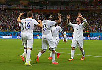 Daniel Sturridge of England celebrates scoring his goal to make the score 1-1 with Wayne Rooney who set him up