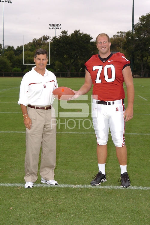 7 August 2006: Stanford Cardinal head coach Walt Harris and Jeff Edwards during Stanford Football's Team Photo Day at Stanford Football's Practice Field in Stanford, CA.