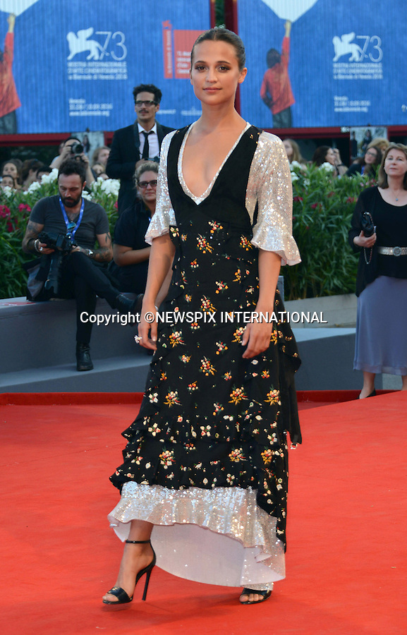 01.08.2016; Venice, Italy: ALICIA VIKANDER<br /> atttends &ldquo;The Light Between Oceans&rdquo; screening at the 73rd Venice Film Festival.<br /> Mandatory Credit Photo: &copy;NEWSPIX INTERNATIONAL<br /> <br /> PHOTO CREDIT MANDATORY!!: NEWSPIX INTERNATIONAL(Failure to credit will incur a surcharge of 100% of reproduction fees)<br /> <br /> IMMEDIATE CONFIRMATION OF USAGE REQUIRED:<br /> Newspix International, 31 Chinnery Hill, Bishop's Stortford, ENGLAND CM23 3PS<br /> Tel:+441279 324672  ; Fax: +441279656877<br /> Mobile:  0777568 1153<br /> e-mail: info@newspixinternational.co.uk<br /> Please refer to usage terms. All Fees Payable To Newspix International