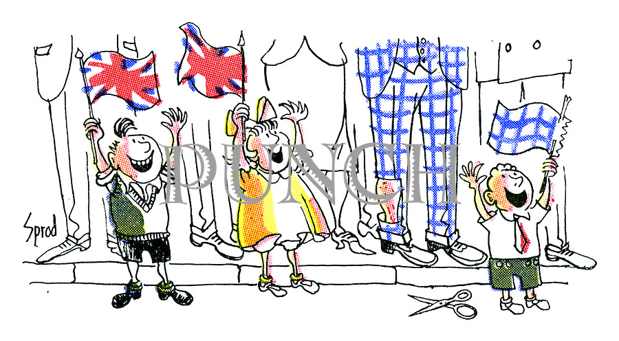 (A small boy watching the Coronation procession doesn't have a flag to wave so he cuts one out of a man's trouser leg)