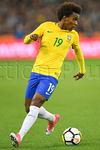 June 9th 2017, Melbourne Cricket Ground, Melbourne, Australia; International Football Friendly; Brazil versus Argentina; Willian Silva of Brazil takes a moment to gain control