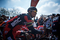 Philippe Gilbert (BEL/BMC) at the start<br /> <br /> 79th Flèche Wallonne 2015
