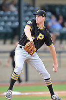 Starting pitcher Ike Schlabach (32) of the Bristol Pirates delivers a pitch in a game against the Pulaski Yankees on Tuesday, July 5, 2016, at Calfee Park in Pulaski, Virginia. Pulaski won, 6-3. (Tom Priddy/Four Seam Images)