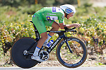 Green Jersey Matteo Trentin (ITA) Quick-Step Floors in action during Stage 16 of the 2017 La Vuelta, an individual time trial running 40.2km from Circuito de Navarra to Logro&ntilde;o, Spain. 5th September 2017.<br /> Picture: Unipublic/&copy;photogomezsport | Cyclefile<br /> <br /> <br /> All photos usage must carry mandatory copyright credit (&copy; Cyclefile | Unipublic/&copy;photogomezsport)