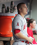 Los Angeles Angels Mike Trout watches the replay of his 411-foot   solo home run to center field off Seattle Mariners' starting pitcher Felix Hernandez in  the first inning of  season home opener April 6, 2015 at Safeco Field in Seattle.  The Mariners beat the Angels 4-1.    ©2015. Jim Bryant Photo. ALL RIGHTS RESERVED.