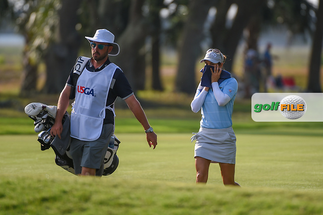 Azahara Munoz (ESP) cools off as she makes her way down 10 during round 2 of the 2019 US Women's Open, Charleston Country Club, Charleston, South Carolina,  USA. 5/31/2019.<br /> Picture: Golffile | Ken Murray<br /> <br /> All photo usage must carry mandatory copyright credit (© Golffile | Ken Murray)