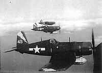 Bombing Fighting Squadron 85 (VBF-85) F4U Corsairs with lightning bolt on tail- date has to be between Jan 1945 and mid July 1945