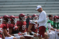 NWA Democrat-Gazette/ANDY SHUPE<br /> Arkansas assistant coach Barry Lunney speaks to players Saturday, Aug. 5, 2017, prior to the start of a scrimmage in Razorback Stadium in Fayetteville. Visit nwadg.com/photos to see more photographs from the practice.