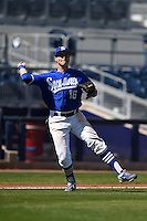 Indiana State Sycamores infielder Andy Young (16) throws to first during a game against the Vanderbilt Commodores on February 21, 2015 at Charlotte Sports Park in Port Charlotte, Florida.  Indiana State defeated Vanderbilt 8-1.  (Mike Janes/Four Seam Images)