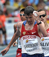 CALI - COLOMBIA - 18-07-2015: Sergey Shirobokov de Rusia, en acción durante la prueba de los 10000 metros en el estadio Pascual Guerrero sede, sede de IAAF Campeonatos Mundiales de la Juventud Cali 2015.  / Sergey Shirobokov of Russia, in action during the test of 10000 meters in the Pascual Guerrero home of the IAAF World Youth Championships Cali 2015. Photos: VizzorImage / Luis Ramirez / Staff.
