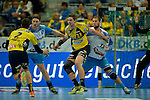 GER - Mannheim, Germany, September 23: During the DKB Handball Bundesliga match between Rhein-Neckar Loewen (yellow) and TVB 1898 Stuttgart (white) on September 23, 2015 at SAP Arena in Mannheim, Germany. Final score 31-20 (19-8) .  Hendrik Pekeler #23 of Rhein-Neckar Loewen, Teo Coric #13 of TVB 1898 Stuttgart<br /> <br /> Foto &copy; PIX-Sportfotos *** Foto ist honorarpflichtig! *** Auf Anfrage in hoeherer Qualitaet/Aufloesung. Belegexemplar erbeten. Veroeffentlichung ausschliesslich fuer journalistisch-publizistische Zwecke. For editorial use only.