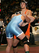 Jake Genovesi and Dave Christopher wrestle at the 215 weight class during the NY State Wrestling Championships at Blue Cross Arena on March 8, 2008 in Rochester, New York.  (Copyright Mike Janes Photography)