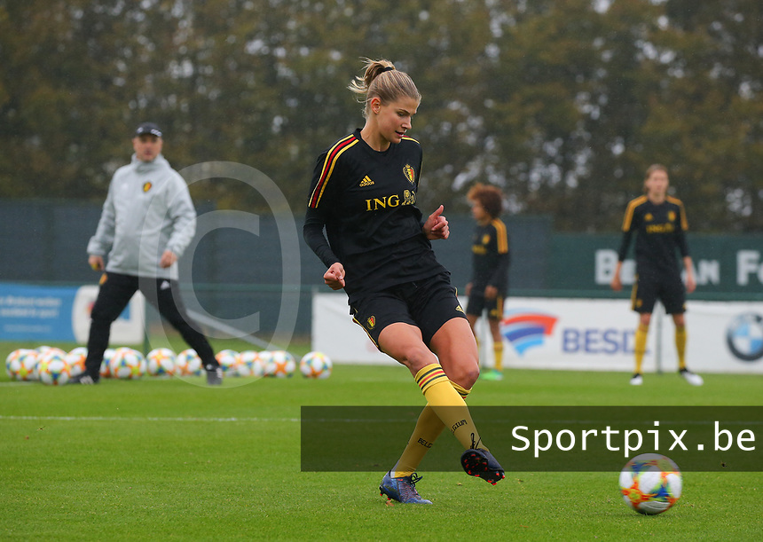 20191006 TUBIZE: Red Flames' Justine Vanhaevermaet is pictured at the Open Training of Red Flames on Sunday 6th of October 2019, Tubize, Belgium PHOTO  SPORTPIX.BE   SEVIL OKTEM