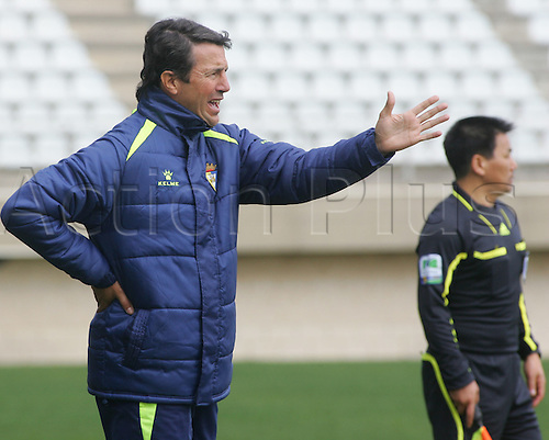 27.01.2012 Cadiz, SPAIN - Friendly football match  played between Cadiz C.F. versus Guangzhou. Cadiz coach.C