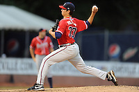Rome Braves starting pitcher A.J. Holland #33 delivers a pitch during game three of the South Atlantic League, Southern Division playoffs against the Asheville Tourists at McCormick Field on September 8, 2012 in Asheville, North Carolina . The Tourists defeated the Braves 4-3. (Tony Farlow/Four Seam Images).