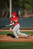 AZL Angels Justin Kunz (10) hits a home run during an Arizona League game against the AZL D-backs on July 20, 2019 at Salt River Fields at Talking Stick in Scottsdale, Arizona. The AZL Angels defeated the AZL D-backs 11-4. (Zachary Lucy/Four Seam Images)