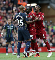 Liverpool's Sadio Mane has an altercation with Manchester City's Fernandinho<br /> <br /> Photographer Rich Linley/CameraSport<br /> <br /> The Premier League - Liverpool v Manchester City - Sunday 7th October 2018 - Anfield - Liverpool<br /> <br /> World Copyright &copy; 2018 CameraSport. All rights reserved. 43 Linden Ave. Countesthorpe. Leicester. England. LE8 5PG - Tel: +44 (0) 116 277 4147 - admin@camerasport.com - www.camerasport.com