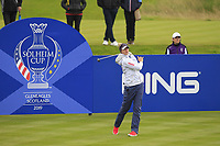 Nelly Korda of Team USA on the 4th tee during Day 2 Foursomes at the Solheim Cup 2019, Gleneagles Golf CLub, Auchterarder, Perthshire, Scotland. 14/09/2019.<br /> Picture Thos Caffrey / Golffile.ie<br /> <br /> All photo usage must carry mandatory copyright credit (© Golffile | Thos Caffrey)