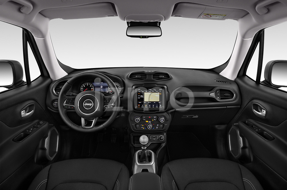 Stock photo of straight dashboard view of 2019 JEEP Renegade Limited 5 Door SUV Dashboard