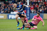 Tom Homer of Bath Rugby takes on the Exeter Chiefs defence. Anglo-Welsh Cup Final, between Bath Rugby and Exeter Chiefs on March 30, 2018 at Kingsholm Stadium in Gloucester, England. Photo by: Matt Impey / Wired Photos for Onside Images