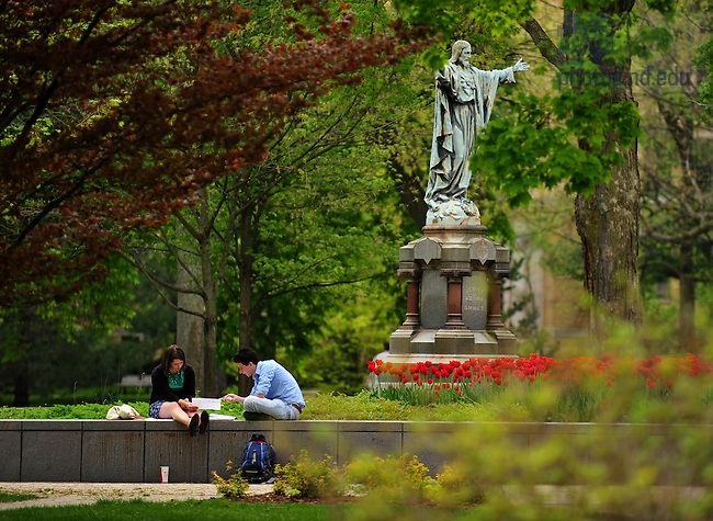 Sacred Heart statue, God Quad..Photo by Matt Cashore/University of Notre Dame