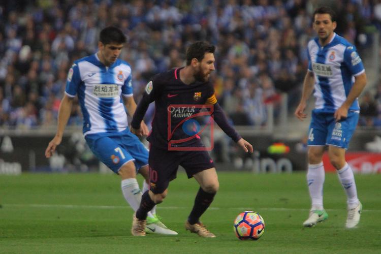 League Santander 2016/2017. Game: 35.<br /> RCD Espanyol vs FC Barcelona: 0-3.<br /> Gerard Moreno vs Lionel Messi.